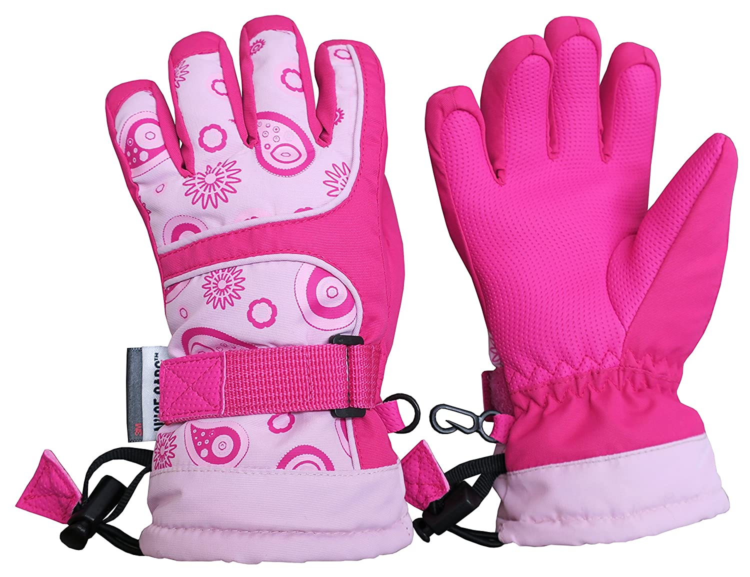 NIce Caps Kids Scroll Print Waterproof Thinsulate Insulated Winter Snow Gloves