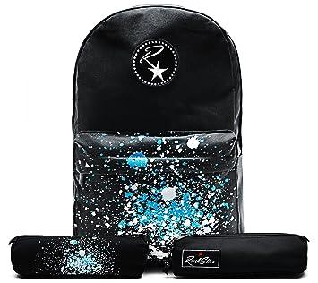 Ruckstar Mochila escolar o de deporte con costuras reforzadas y compartimento acolchado para portátil negro Black Paint Pocket: Amazon.es: Equipaje