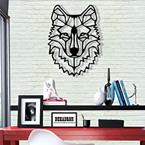 "Metal Wall Art - Wolf Head - 3D Wall Silhouette Metal Wall Decor Home Office Decoration Bedroom Living Room Decor Sculpture (22"" W x 30"" H/56x76cm)"