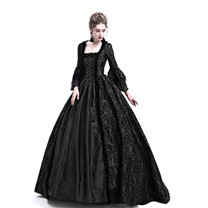021c381ecd7f Amazon.com: D-RoseBlooming Black Masked Masquerade Ball Gown Gothic  Victorian Dress Costumes: Clothing