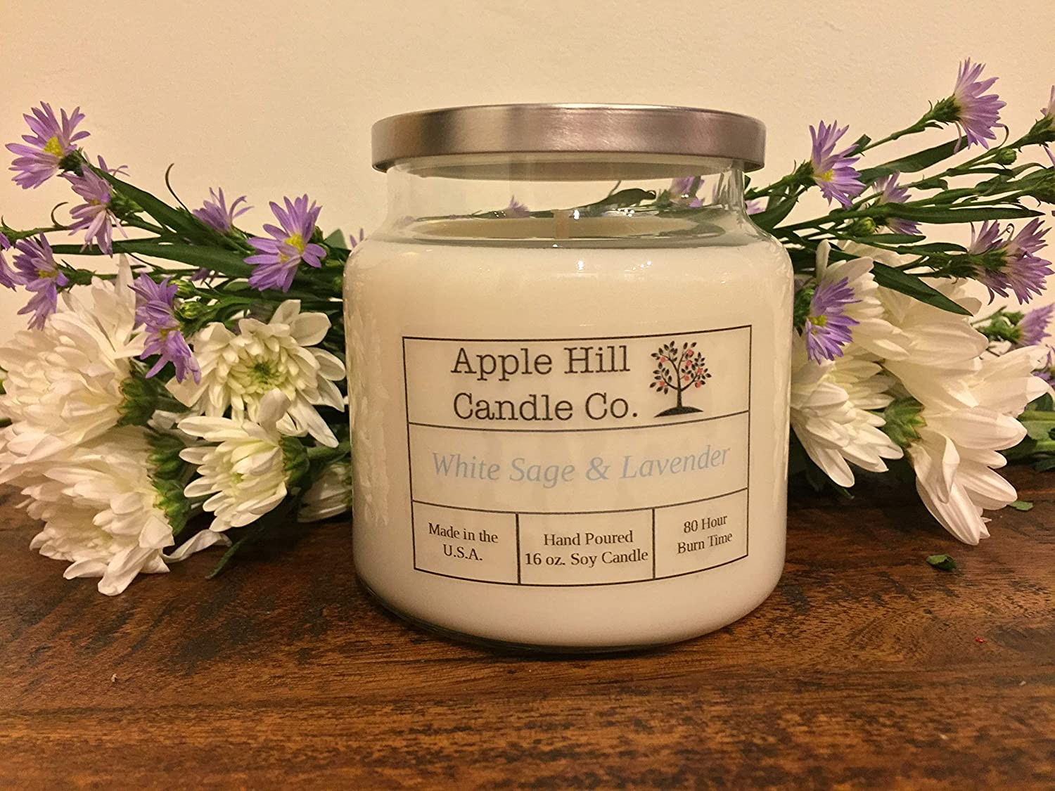 Handmade Natural Soy Candle - White Sage and Lavender (16 oz.) | Aromatherapy Candle | ~80 Hours Burn Time
