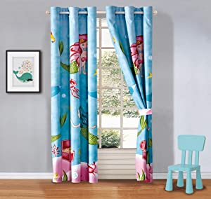 Kids zone Home Linen 2 Panel Curtain Set with Grommet for Boys Girls Teens Bedroom Multicolor Set Mermaid Treasure Under The sea Blue Rose Pink Green Princess of The Sea New