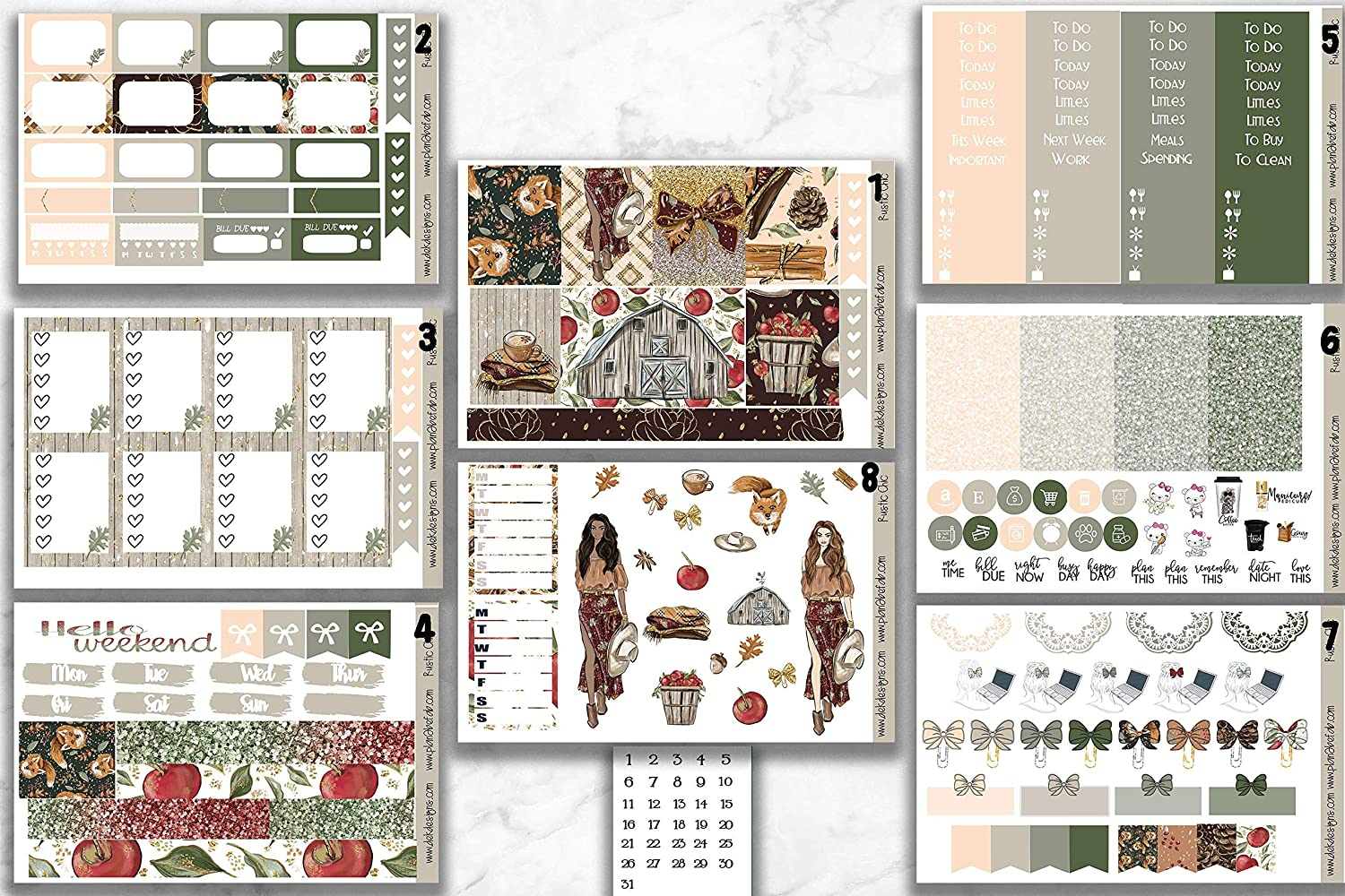 Life Planner Sticker Kit Rustic Chic on premium matte