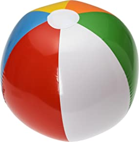 "NJ Novelty 20"" Large Inflatable Beach Balls 1 Dozen Rainbow Colored for Pool Party/Summer Water Fun and Birthday Parties"