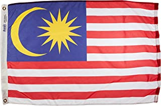 product image for Annin Flagmakers Model 195280 Malaysia Flag Nylon SolarGuard NYL-Glo, 2x3 ft, 100% Made in USA to Official United Nations Design Specifications