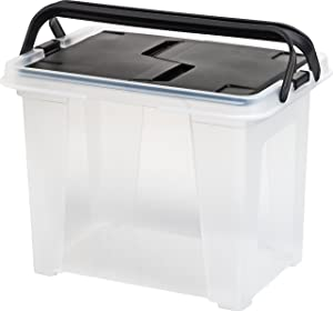 IRIS USA, Inc. WHFB-24 IRIS Letter Size Portable Wing File Clear/Black Lid