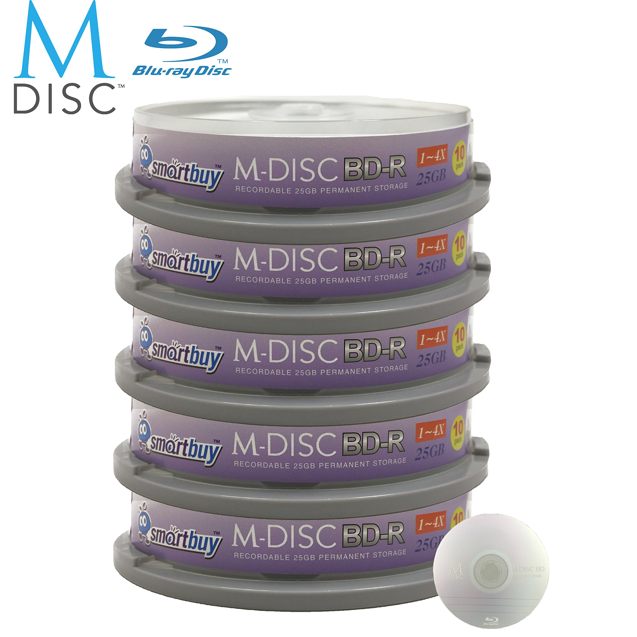 50 Pack Smartbuy M-Disc BD-R 25GB 4X HD 1000 Year Permanent Data Archival / Backup Blank Media Recordable Disc