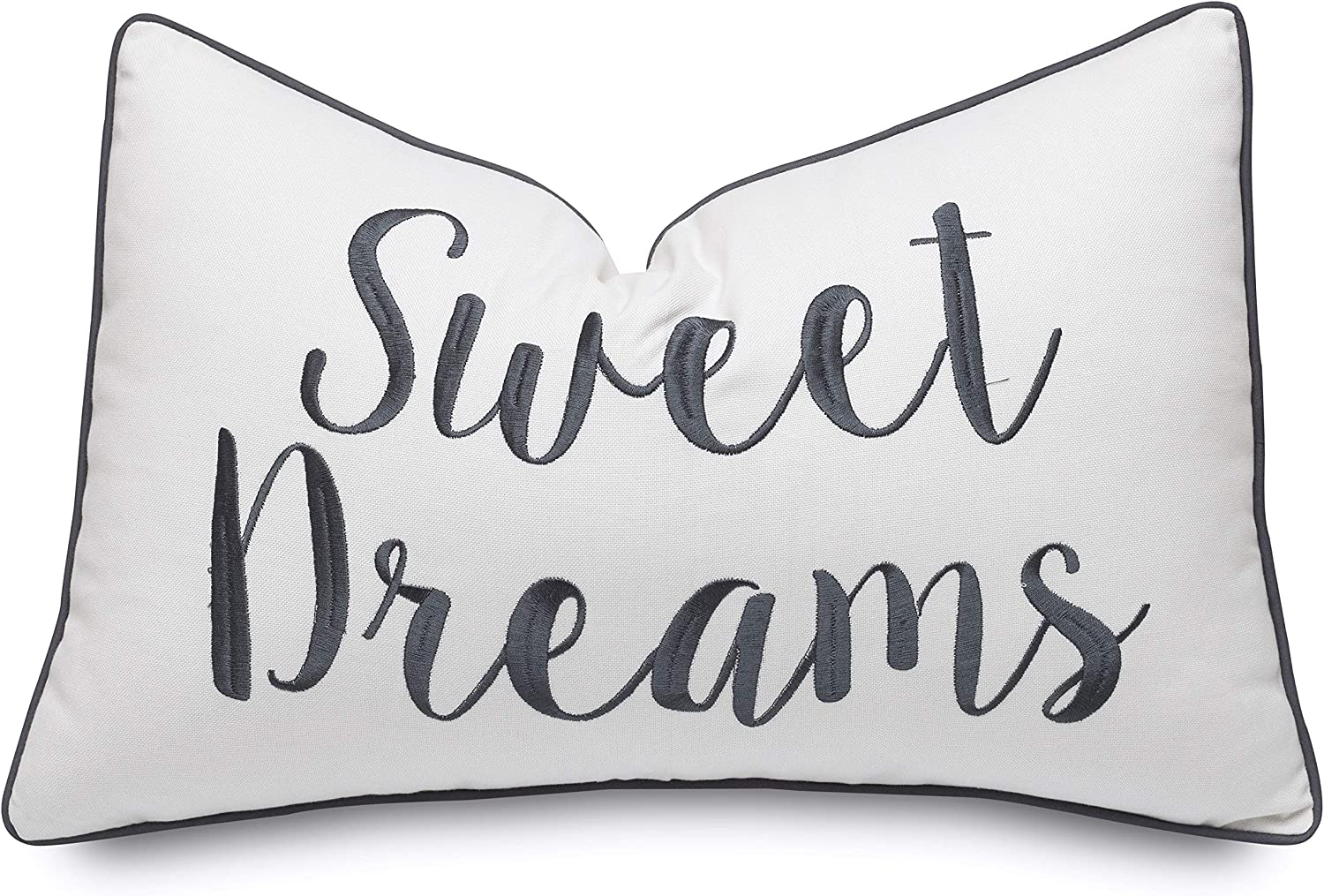 Rudransha Sweet Dreams Embroidered Lumbar Accent Throw Pillow Cover - Bedroom Decor - 12x18, Ivory-Grey