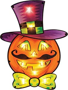 "Brwoynn 16"" Halloween Lighted Pumpkin Window Decoration, Halloween Pumpkin Sign, PVC Decorative Pumpkin Halloween Eve Outdoor Indoor Decor Party Supplies Home Decorations"