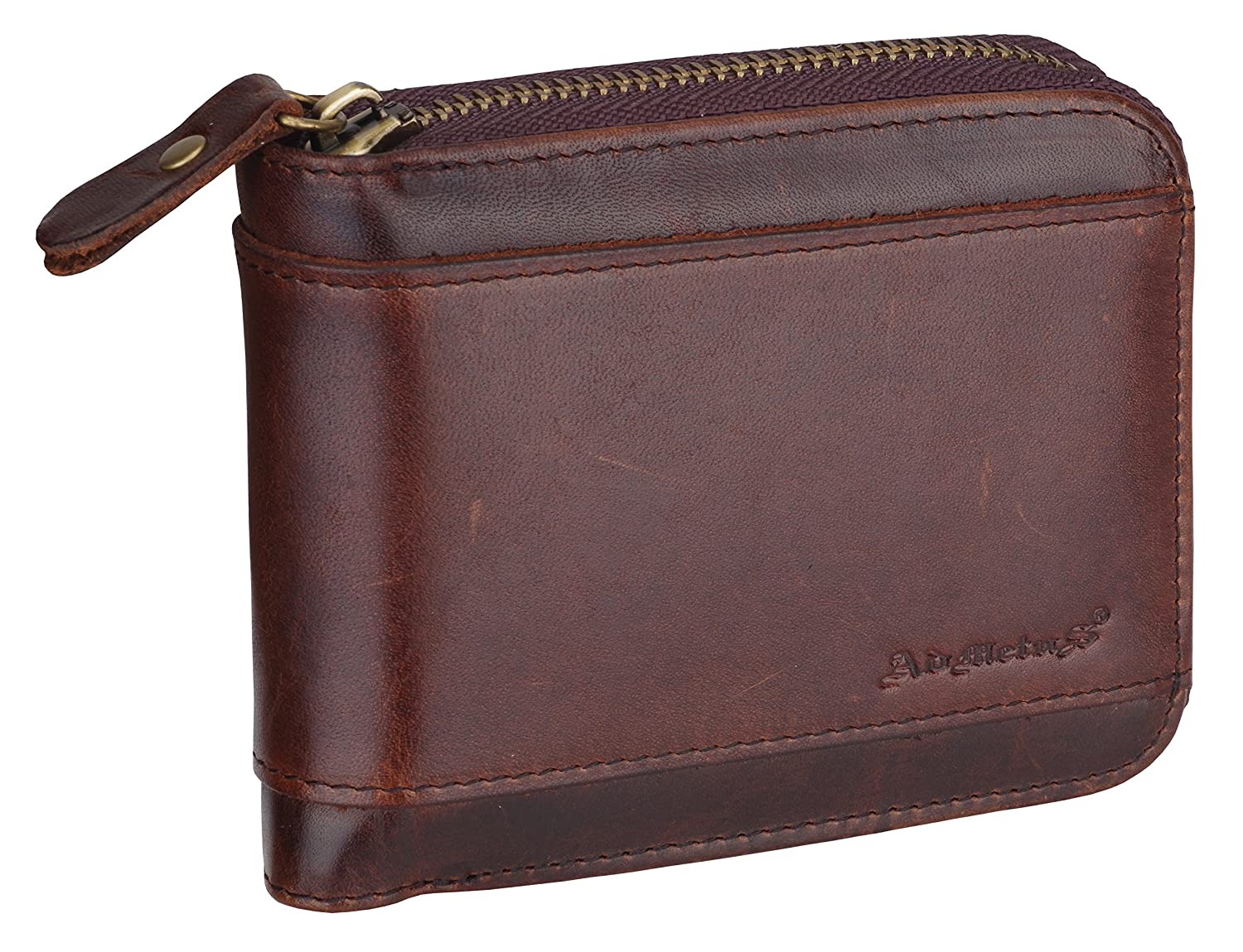 Admetus Men's Genuine Leather Short Zip-around Bifold Wallet AD-201-HE-H