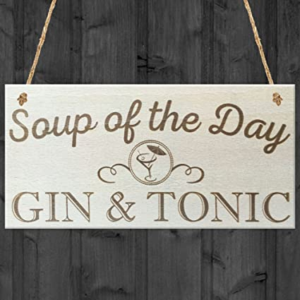 Soup Of The Day Gin & Tonic Novelty Wooden Hanging Plaque Alcohol Joke Gift Sign Plaques & Signs Home Decor