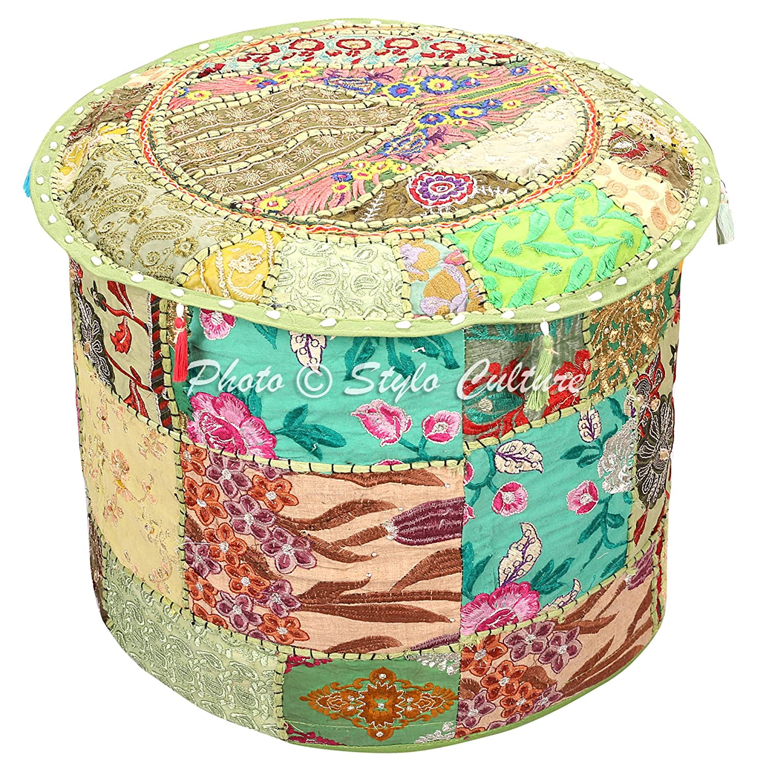 Stylo Culture Indian Vintage Pouf Ottoman Foot Stool Cover Round Patchwork Embroidered Pouffe Ottoman Cover Green Cotton Floral Traditional Furniture Footstool Seat Puff Cover (16x16x13) SC-POUF00104