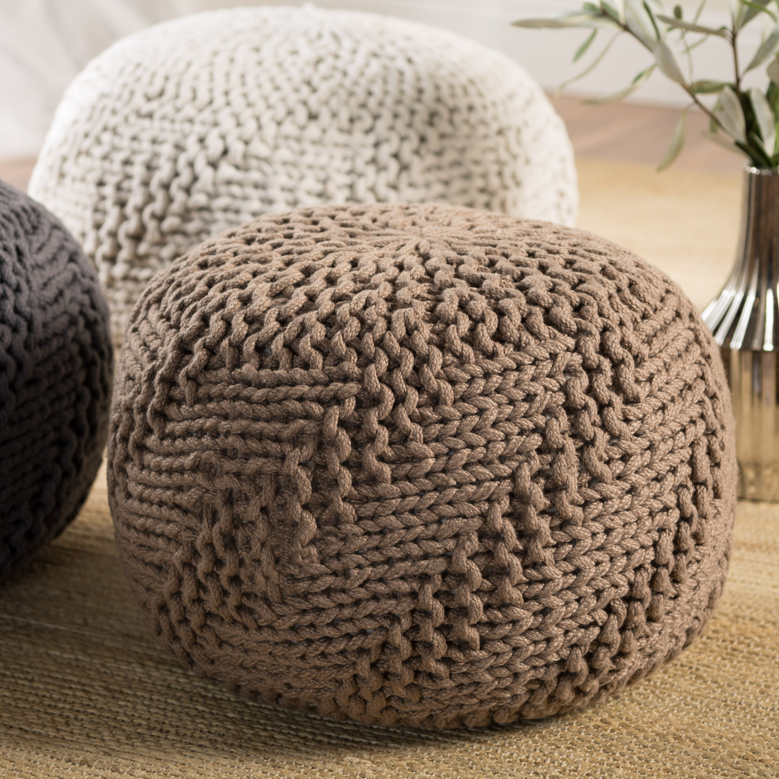Christopher Knight Home Haley Indoor/Outdoor Fabric Weave Pouf (Light Brown)