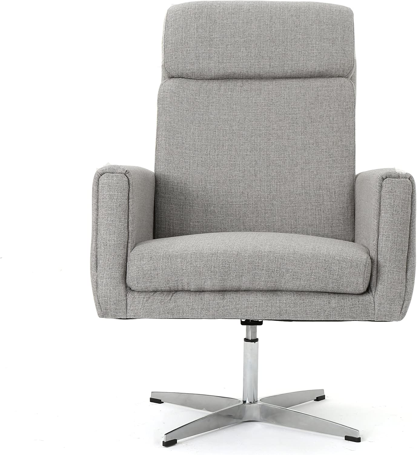 Christopher Knight Home Horatia Modern Fabric Swivel Accent Chair, Grey / Brushed Steel