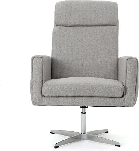 Christopher Knight Home Horatia Modern Fabric Swivel Accent Chair, Grey Brushed Steel