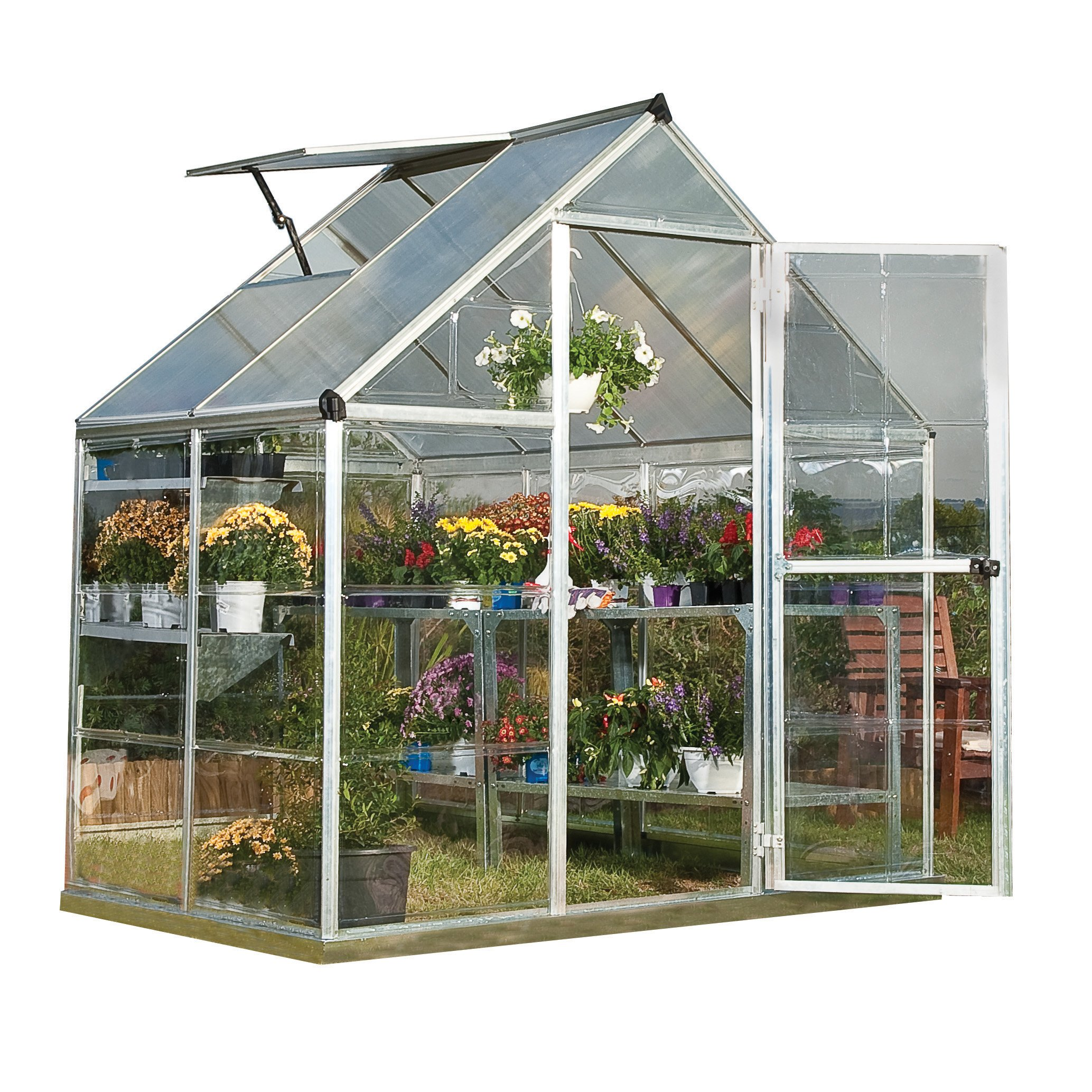Palram Nature Series Hybrid Hobby Greenhouse - 6' x 4' x 7', Silver by Palram