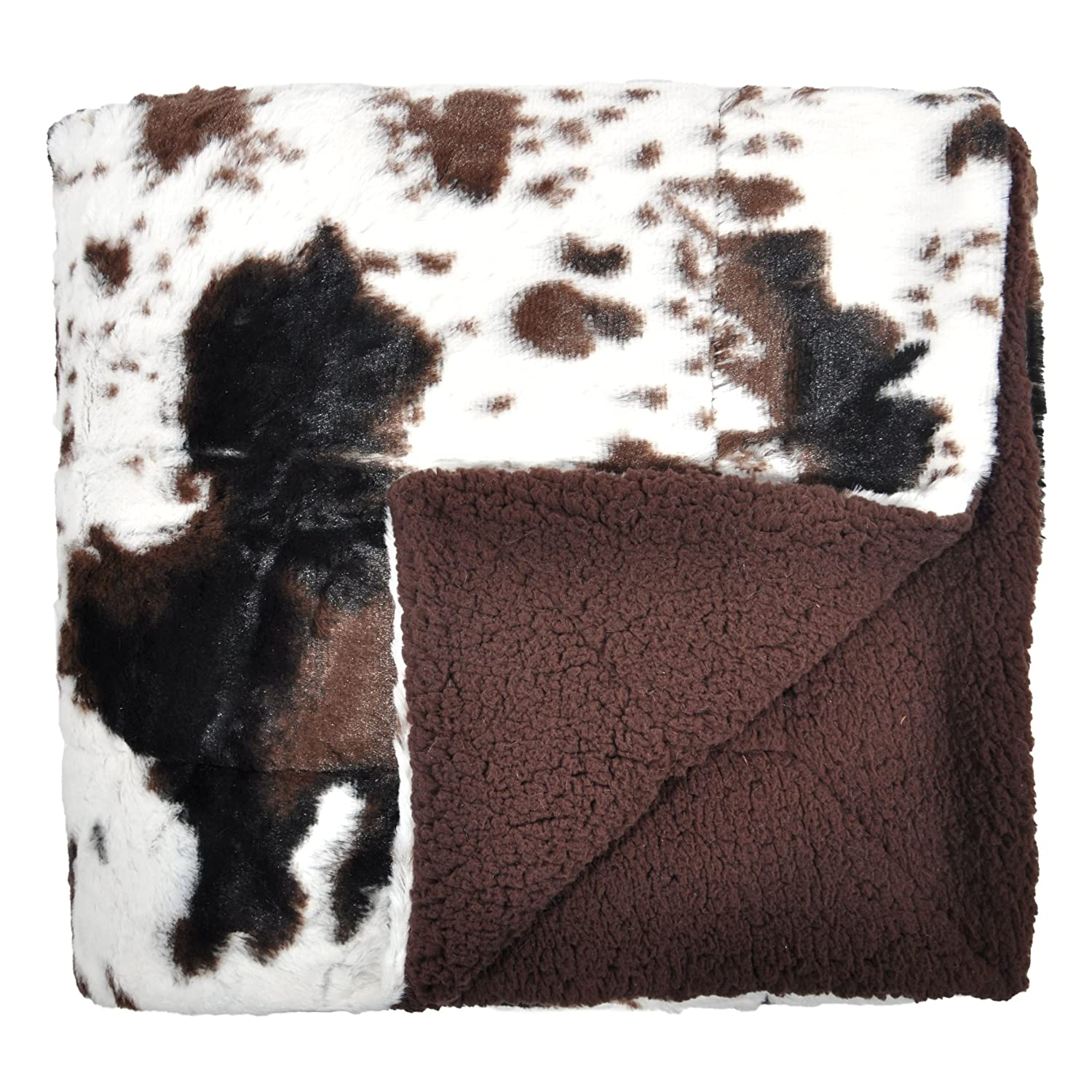 Tadpoles Plush Sherpa Cowhide Print Double Layer Baby Blanket