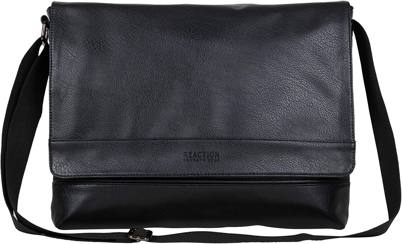 Kenneth Cole REACTION Grand Central Vegan Leather Laptop & Tablet Crossbody Travel Messenger Bag, Black, 15
