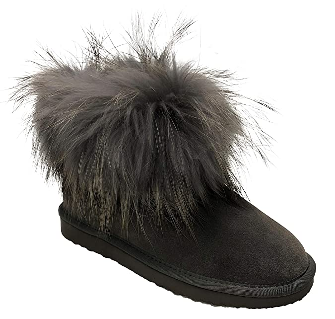 OOG Boots echtes Fell   Leder Schuh Damen Fellstiefel Bommel Winterstiefel  Pelz  Amazon.de  Schuhe   Handtaschen 5eb3309ba2