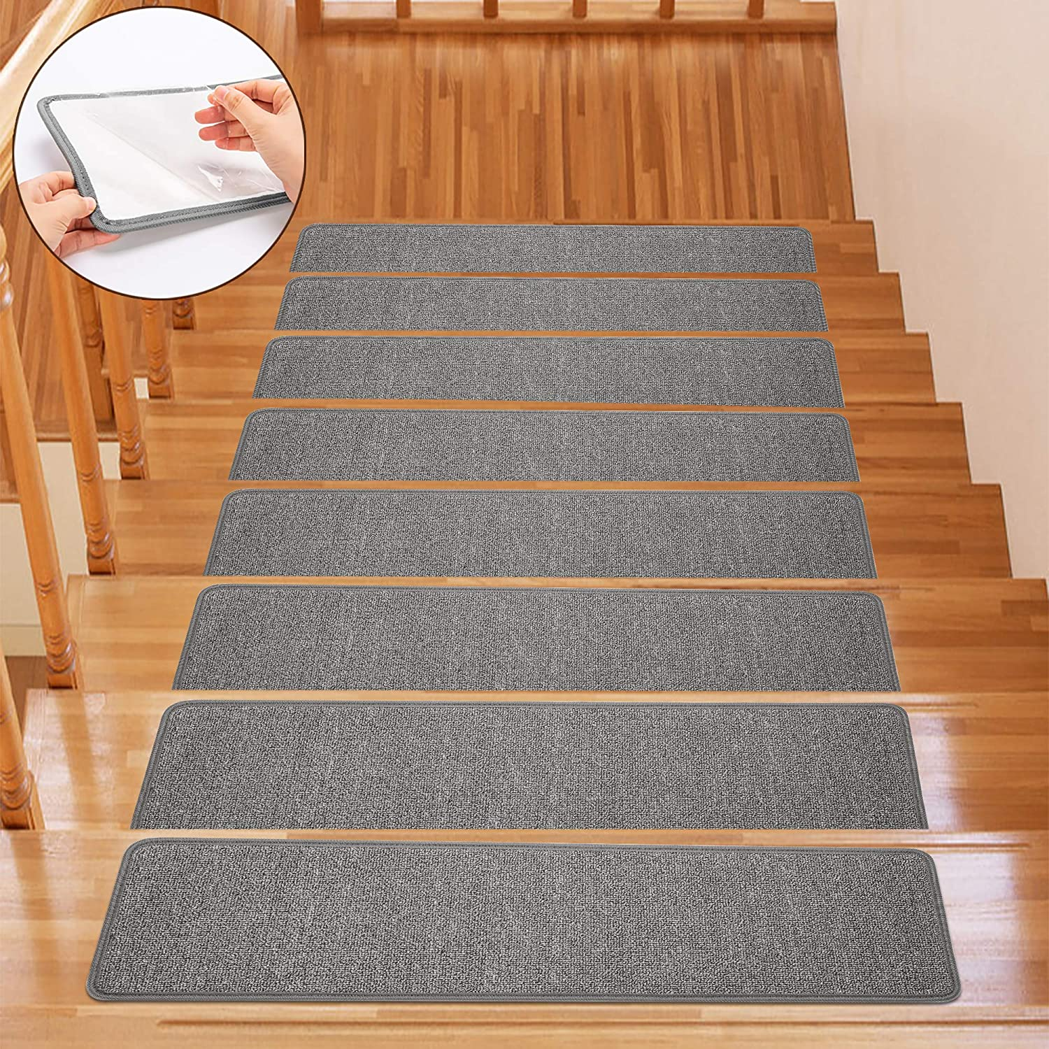 "Indoor Comfort Soft Stair Stepping Mat, Terry Surface Non-Slip Blanket Stair Stepping Mat 8"" x 30"" (13-Pack, Grey)"