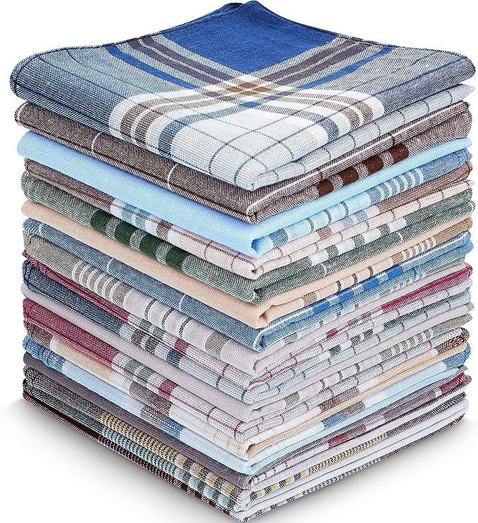 30 Pañuelos de Algodón de Hombre Pañuelos de Patrón a Cuadros Pañuelo de Tela Escocesa Suave Pañuelo Cuadrado de Bolsillo de Algodón, Regalo para Padre Hombre, 16 x 16 Pulgadas, 15 Colores: