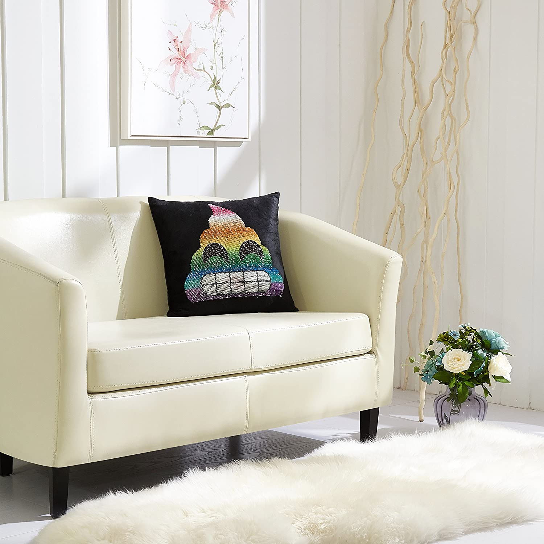 Sherbert Poop Emoji Pals Sequin Pillow 17 x 17 17 x 17 Idea Nuova WK682334