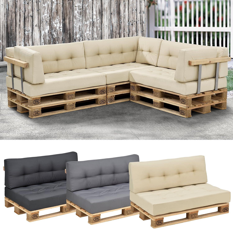 [en.casa] 1x Cuscino schienale per divano paletta euro [beige] cuscini palette per dentro e fuori