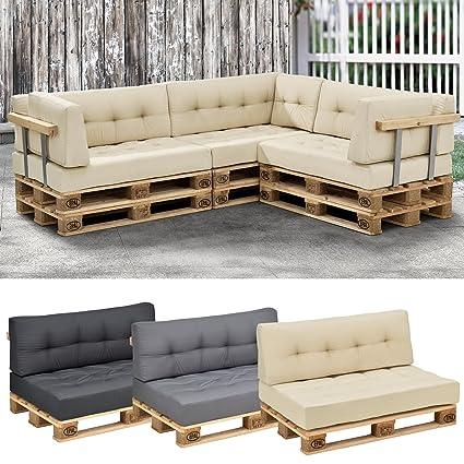 [en.casa]®] Set de 2 Cojines para sofá de palés - cojín de Asiento + cojín de Respaldo [Beige] sofá de europalés para Interior/Exterior