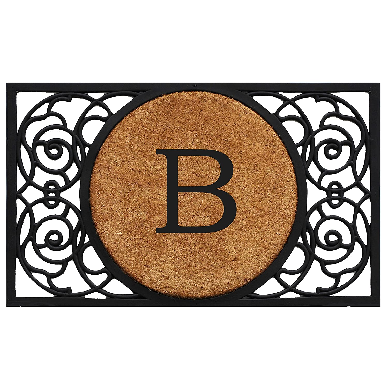 Black B Home & More 180032236G Armada Circle Monogram Doormat 22  X 36  (Letter G),