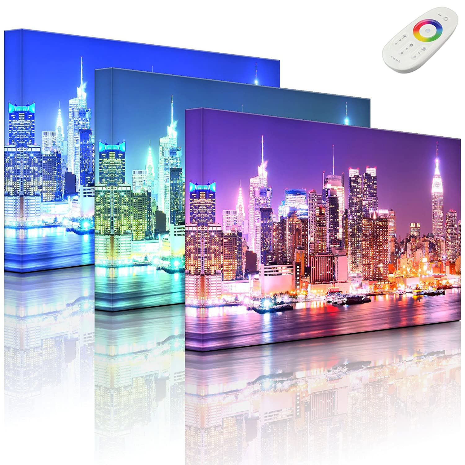 lightbox-multicolor.com LED picture with lighting - New York City, Skyline Bridge at night - 60 x 40 cm - front lighted Rossteutscher GbR
