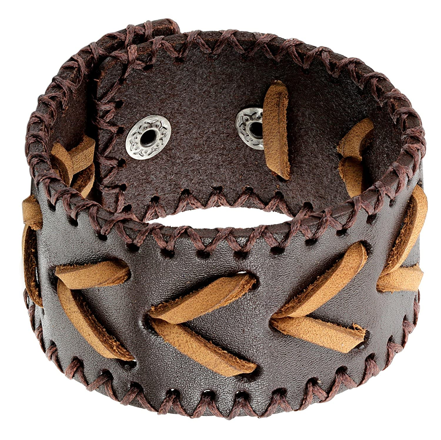 Fit 6-8 inch Wrist Flongo Mens Punk Wide Braided Leather Woven Snap Button Bangle Bracelet