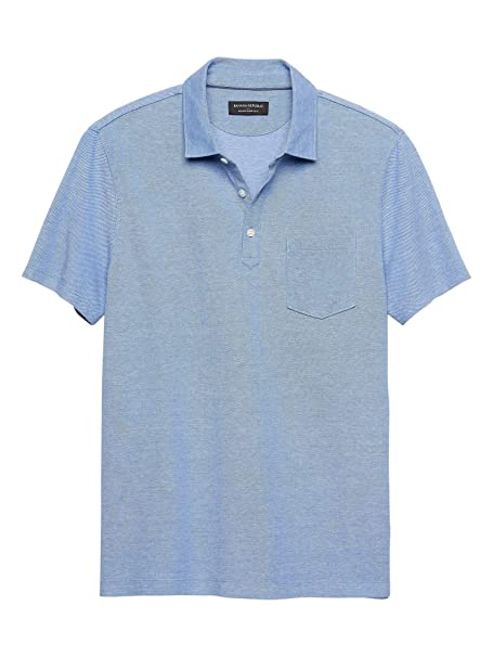 c2337a43c25e Banana Republic Mens Moisture Wicking Pique Polo Shirts Antique Blue (Small)