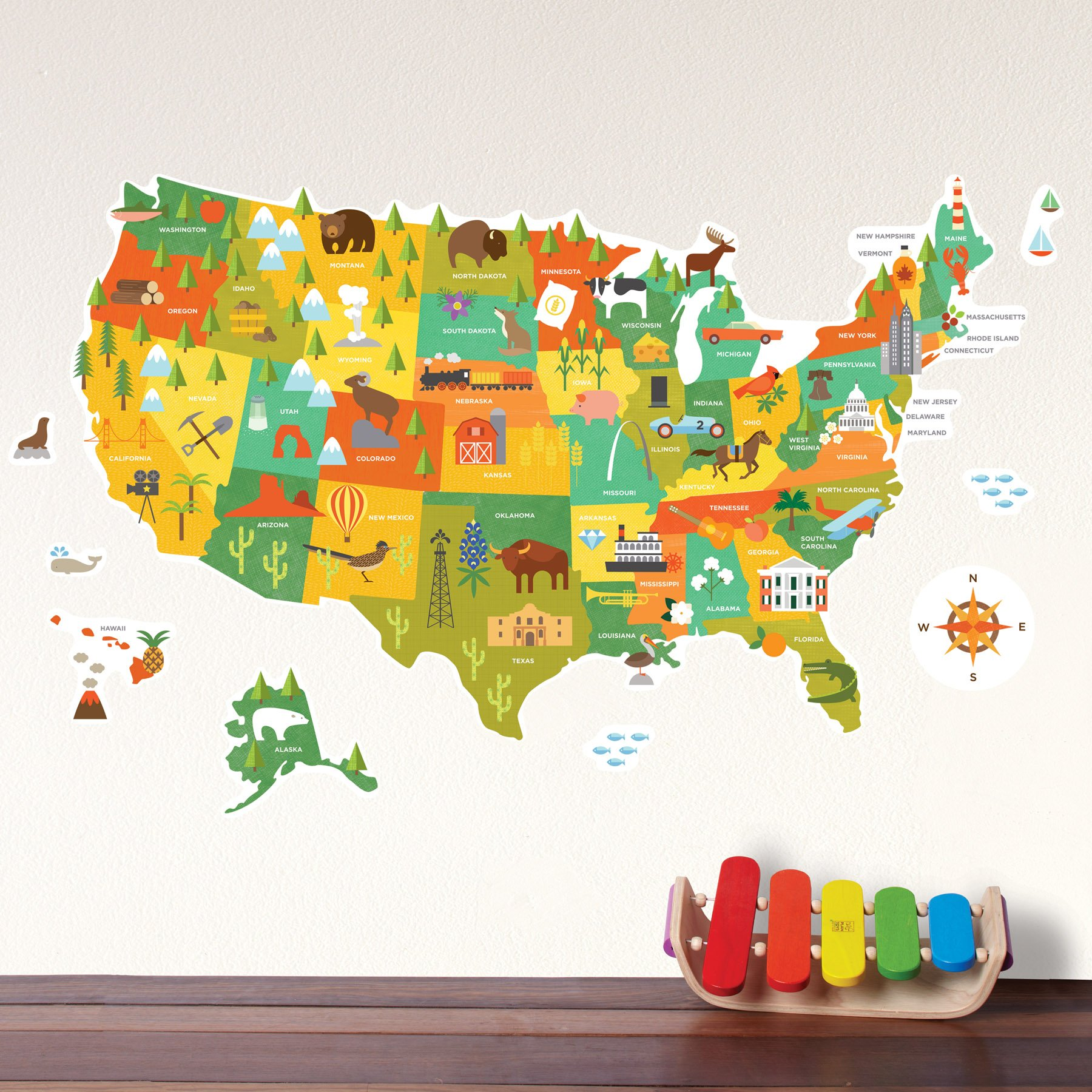 Amazon.com: Petit Collage Wall Decal, World Map: Baby