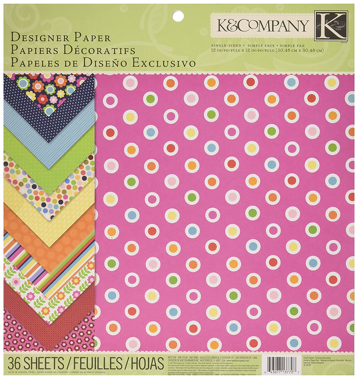 K & Company 30-137707 Simply Sweet 12-by-12-Inch Paper Pad EK Success Brands