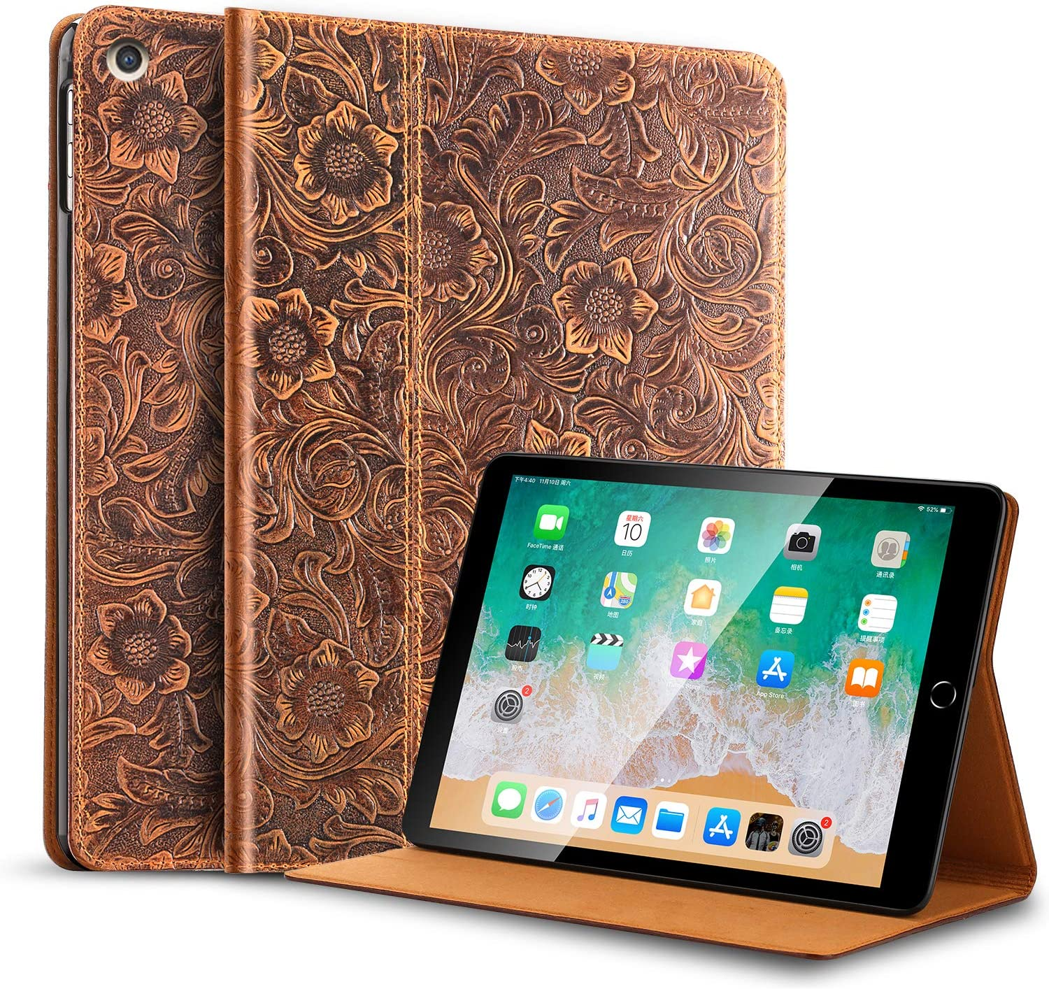 Gexmil iPad 10.2 inch 2019 Case, Cowhide Folio Cover for New iPad 7th Gen Genuine Leather case
