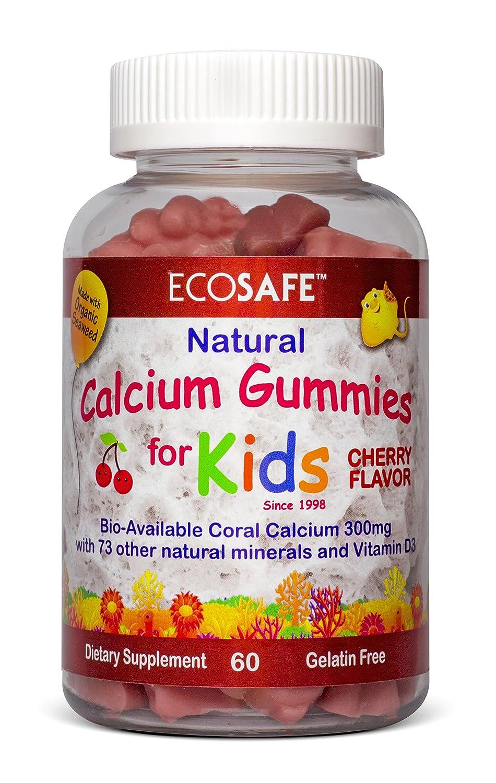 Coral Calcium Vitamin D3 Kids Gummy, Natural Cherry Flavor, Non GMO, Gluten-Free, Dairy-Free,
