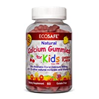 Coral Calcium Vitamin D3 Kids Gummy, Natural Cherry Flavor, Non GMO, Gluten-Free, Dairy-Free, Soy-Free and Gelatin Free - 300 mg of Calcium, and 500 IU of Vitamin D3-60 Gummies (1 Pack)