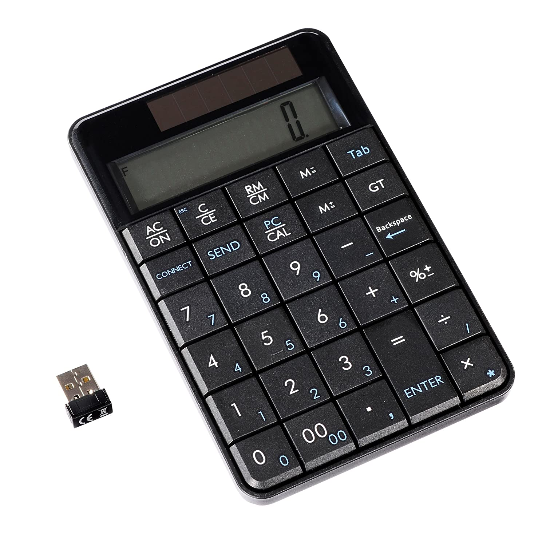 tastierino numerico integrato calcolatrice e pannello solare; colore 2,4 GHz Ultron UN-1 Wireless Nero