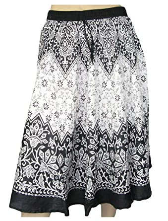 cac21a9a85 LOVARZI Black & White Women's Cotton Skirt - Floral Print Long Skirts for  Summer - Ladies