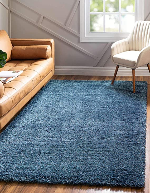 Unique Loom Luxe Solo Plush Area Rug Lxs001 2 Feet 2 Inch X 3 Feet Navy Blue Furniture Decor