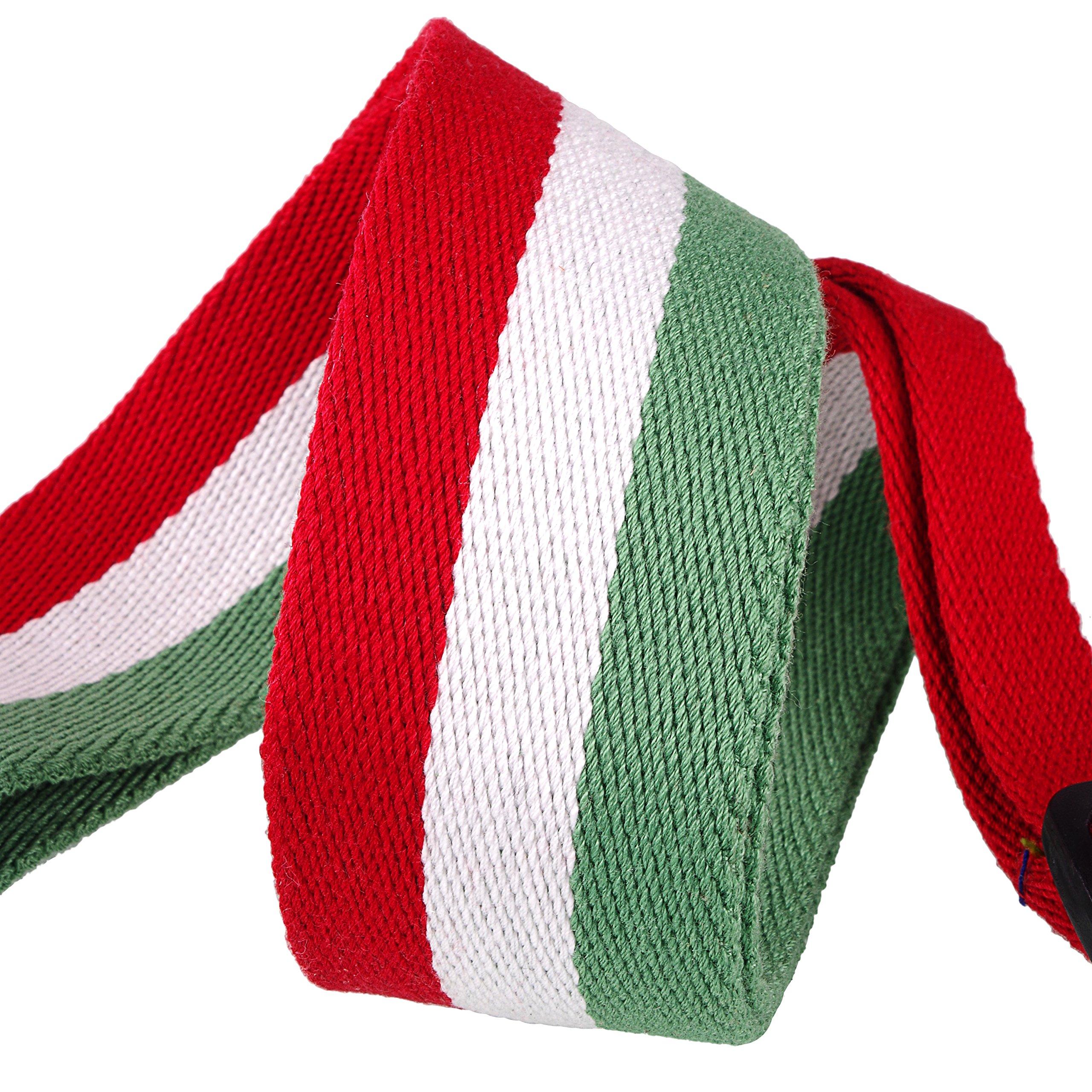 Mugig Tracolla per Chitarra/Basso,Tracolla in Cotone per Chitarra/Basso Acustica/Elettrica con Tasca Porta Plettri, stile bandiera nazionale, Larghezza 5cm, Lunghezza Regolabile da 95 cm a 153cm (Italia)