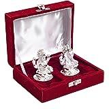 Swagger Silver Plated Laxmi And Ganesha Idol/ Lakshmi & Ganesh /God & Goddess With Velvet Box