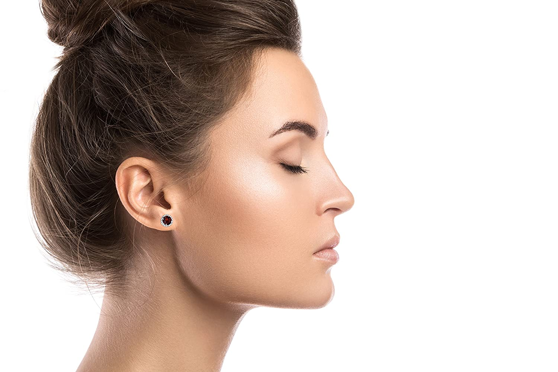 14K White Gold 6mm Round Gemstone /& 0.2 CTTW Diamond Halo Stud Earring Decadence FIE7908W3GW