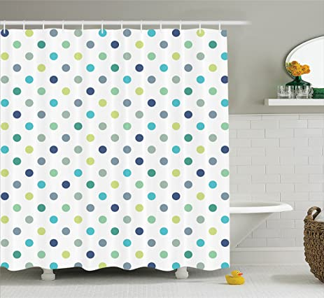 Amazon.com: Polka Dots Extra Long Shower Curtain by Ambesonne, Polka ...