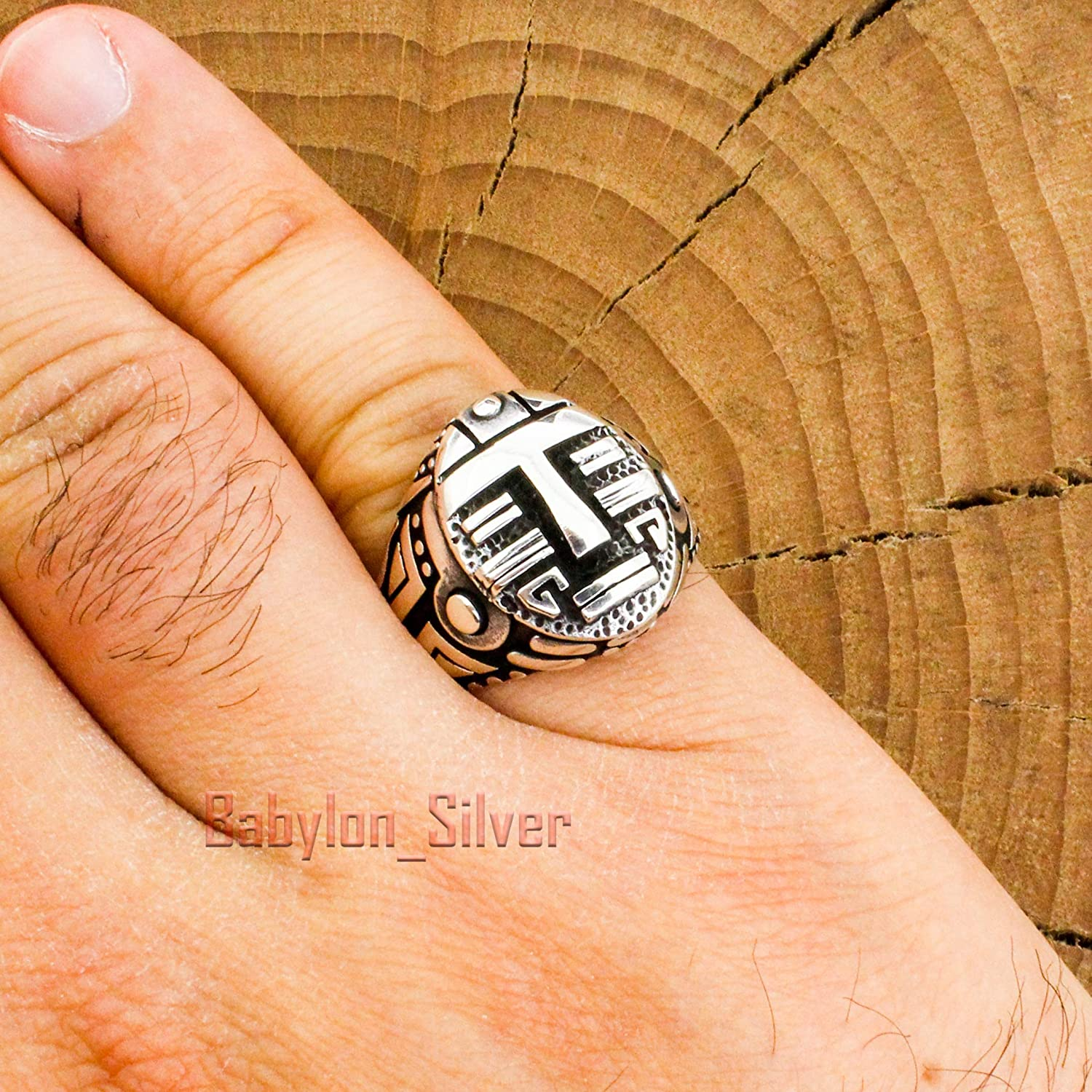 Vintage Mens Abstract Gothic Solid Band Ring 925 Sterling Silver RG 2364