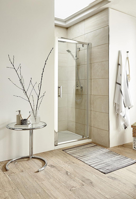 VeeBath Jade moderna 900 mm Pivot con bisagras Reversible Baño Apertura Hacia El Exterior Ducha fácil de limpiar puerta de cristal del cubículo: Amazon.es: Bricolaje y herramientas
