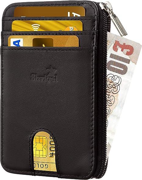 Luxury Women Men Wallet Credit Card Holder Genuine Leather RFID Blocking Zipper