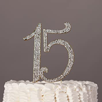 Amazoncom 15 Cake Topper Gold Quinceaera 15th Birthday Crystal