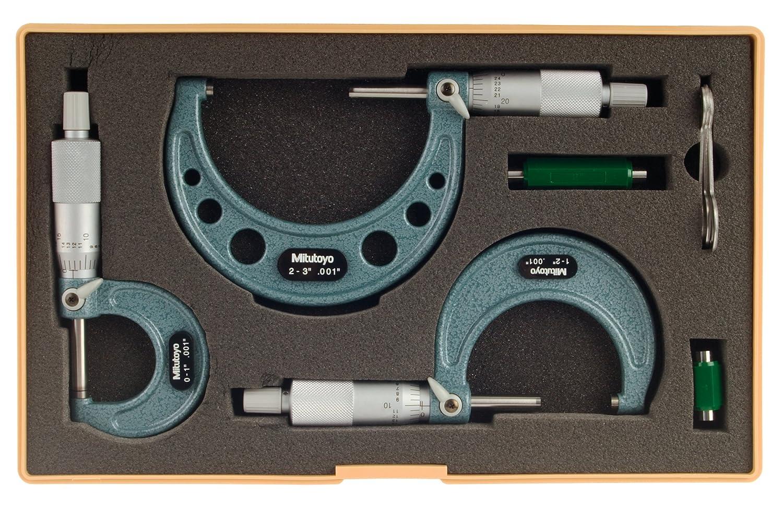 0-3 Range Mitutoyo 103-929 Outside Micrometer Set with Standards 3 Piece Set 0.001 Graduation Ratchet Stop
