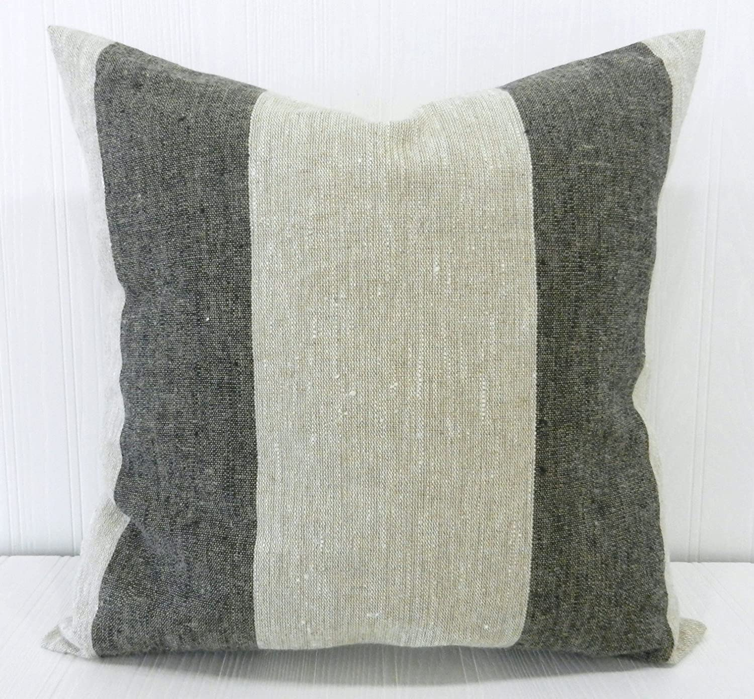 Pillow Cover 18x18 Farmhouse Linen Natural and Black Wide Stripe